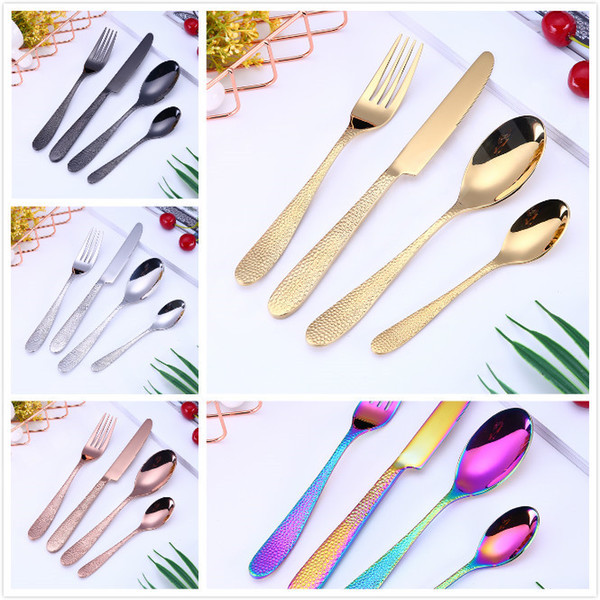 best selling 4pcs set Stylish Flatware Set 5Colors Tableware Cutlery Stainless Steel Utensils Kitchen Dinnerware include Knife Fork Spoon Dessert Spoon