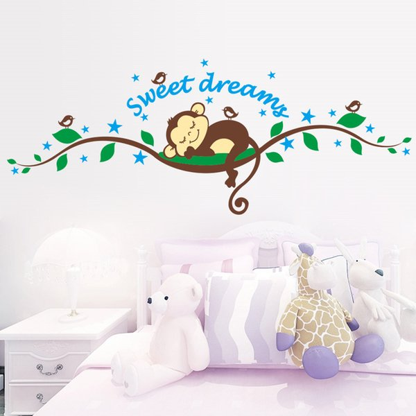adesivo scimmia Sweet Dreaming Scimmia addormentata sugli alberi adesivi murali per camerette 1203 adesivo murale Cameretta per bambini Camera da letto Decora ...