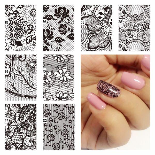 Compre Zko Diy Calcomanías De Agua De Uñas Diseños De Flores De Encaje Pegatinas De Transferencia Nail Art Sticker Tattoo Decals A 2285 Del