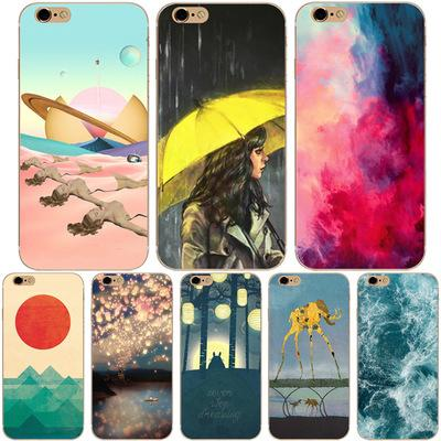 New cell mobile phone case for Iphone X 8 7 6S plus TPU bling printing marble bamboo Starry sky design soft silicone case back cover