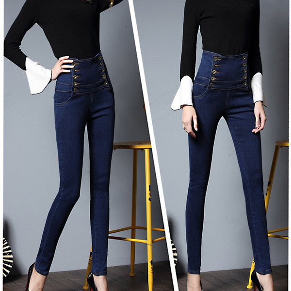 2018 High Waist Lace Up Plus Size Skinny Jeans Casual Women Double Breasted Denim Pants Fashion Stretchy Pencil Pants