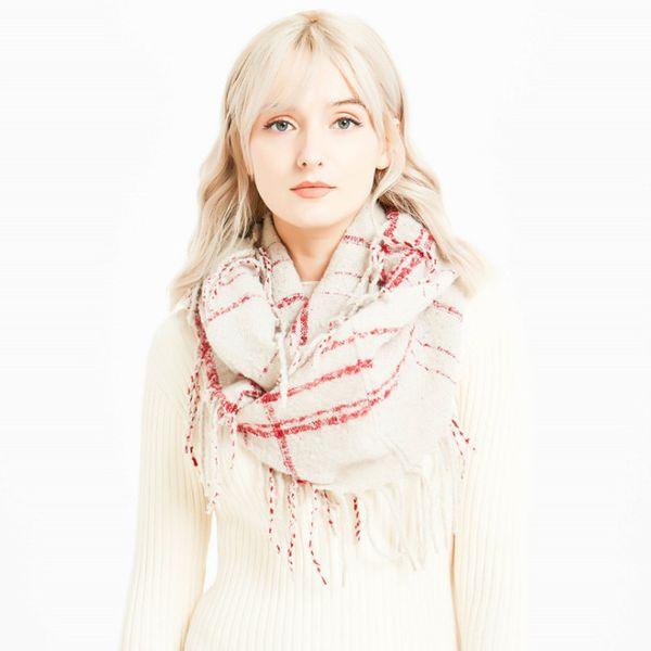 2018 New ladies lattice circle yarn tassel dual-use warm Women Winter Warm Tessel Stitching Long Wool Shawl Plaid Soft Neck Scarf