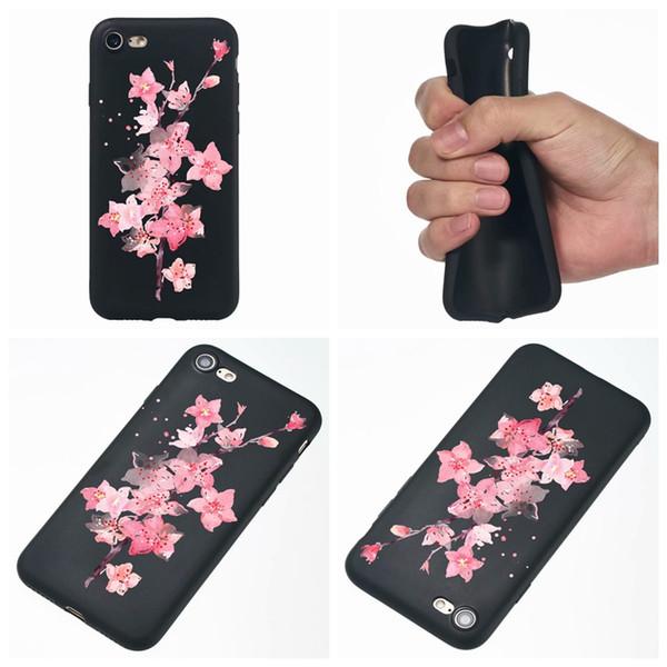 Per Iphone XS MAX XR X 8 7 6 Galaxy S9 A8 2018 Fiore Matte TPU morbido Custodia Lace Space Moon Cartoon Nero Fashion Cover Elegante telefono Skines