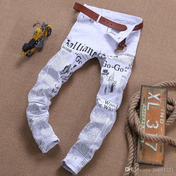 Stretch Mens Jeans New Brand Fashion White Letters Printing Men Slim Fit Pantalones elásticos casuales Pantalones ajustados de mezclilla impresos J180662