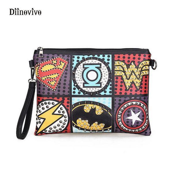 DIINOVIVO Rock Style Rivet Clutch Bag Exquisite Punk Handbag Women Envelope Bag Luxury Leather Superhero Shoulder Bags WHDV0295 Y18110101