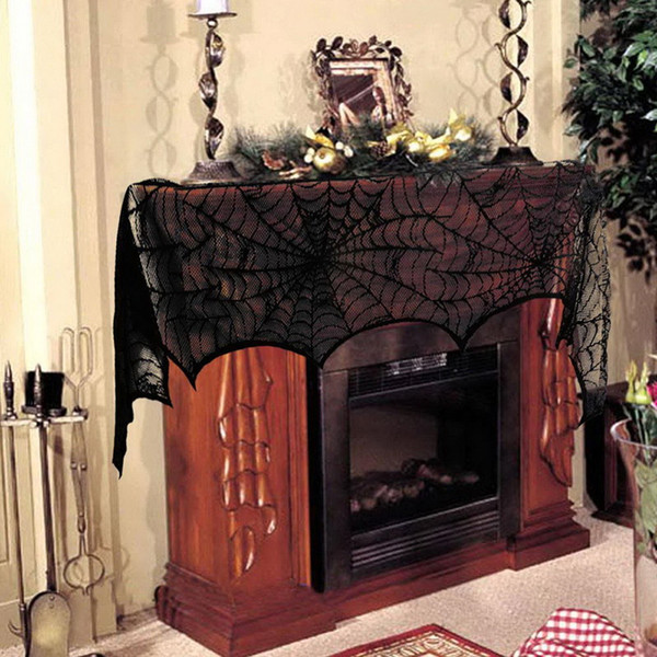 18x96 inch Halloween Decoration Prop Ghost Festival Towel Stove Cloth Black Lace fireplace cloth table cloth home decor