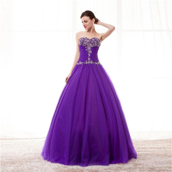 Impresionante vestido de bola Prom Dresses púrpura plisado Tulle con lentejuelas cuentas Vestido de fiesta de los vestidos de quinceañera