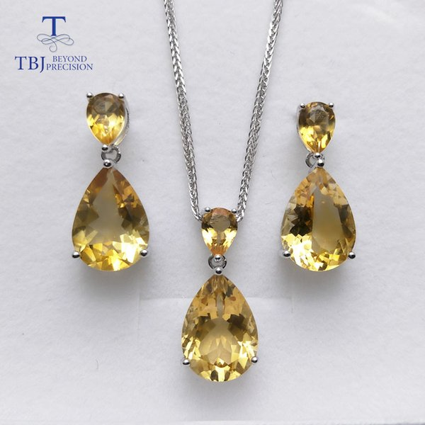 TBJ,natural brazil citrine gemstone earring and pendant S925 silver big shiny jewelry for women wedding party wear gift for wife
