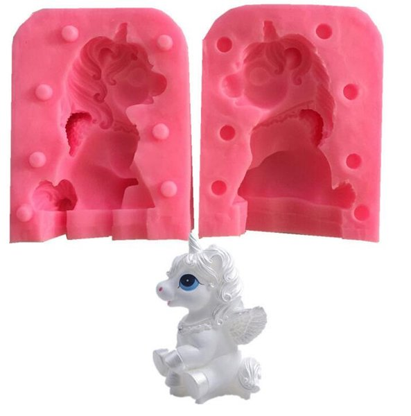 DHL 3D Unicorn Silicone Cake Mould Fondant Molds Baking Decorating tool Non-Stick Handmade Chocolate Candy Mold Animal Moulds