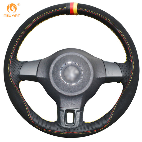 MEWANT Black Suede Black Leather Steering Wheel Cover for Volkswagen Golf 6 Mk6 VW Polo MK5 2010-2013