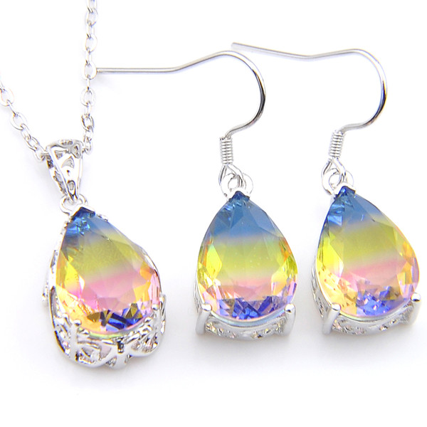 Luckyshine 5 Sets/Lot Water Drop Rainbow Tourmaline Crystal Zircon Gemstone 925 Silver Women Pendant Earrings Jewelry Sets With Chain