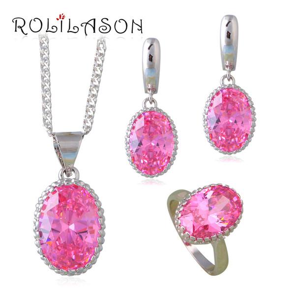 Pink Princess Jewelry Set Champagne pendientes de plata Collares Anillos para joyería de boda JS664