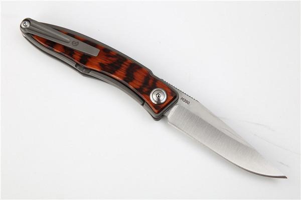 High End M390 Steel CR EDC Pocket Folding Knife Satin Finish Blade TC4 Titanium Alloy + Snake Wood Handle Best Gift knives EDC Gear