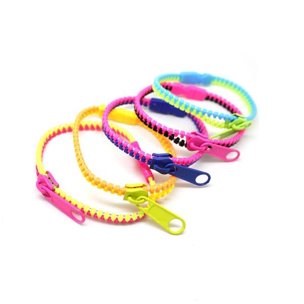 Großhandel 48pcs Reißverschluss Armband gemischt viel Kunststoff für Männer und Frauen Unisex Multi-Color-Mode Manschette Armband Armband Schmuck