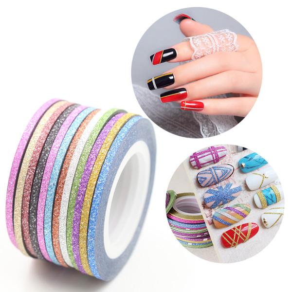 12 Cores Matte Color Rolls 2mm Striping Tape Linha Áspero Estilos Nail Art Tips Decalques Decorações de Beleza Prego Acessórios