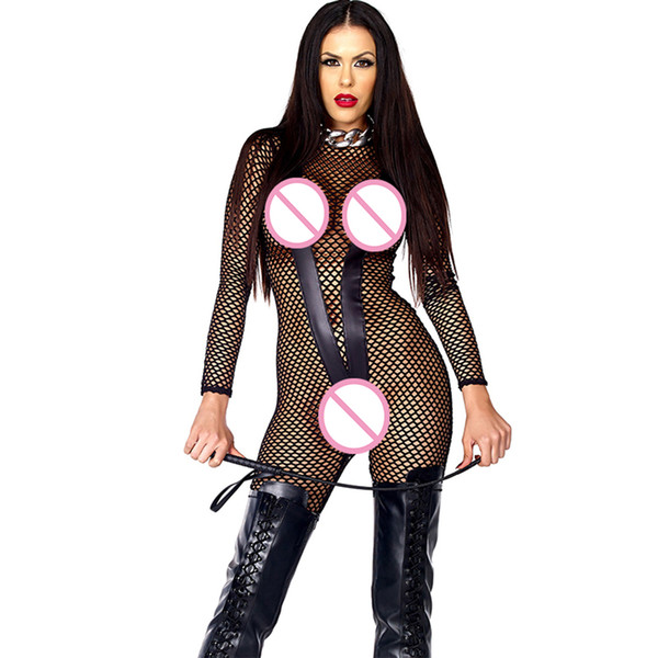 Women Hollow Out Black Exotic Lingerie Sexy Hot Vinyl Leather Stockings Special Use Night Clubwear Fishing Net Fetish Underwear W861278