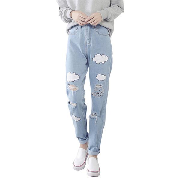 Women Jeans Cloud Print Ripped Jeans Cotton Slim Vintage High Waist Denim Jeans Boyfriend Cuffs for Women Harem Pants