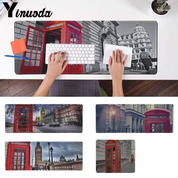 Yinuoda New Designs London Red Telephone Box High Speed New Mousepad Size for 180*220 200*250 250*290 300*900 and 400*900*2mm
