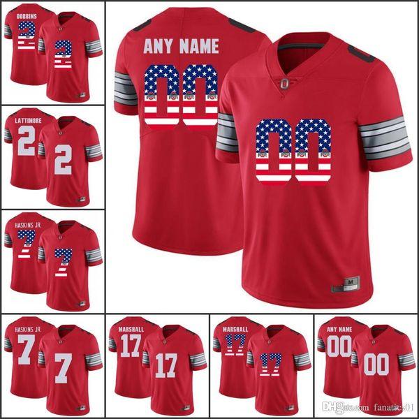 National flag Custom 2018 NCAA Ohio State Buckeyes OSU College Football jerseys 7 Dwayne Haskins Jr. 2 JK Dobbins 97 BOSA 15 Elliott