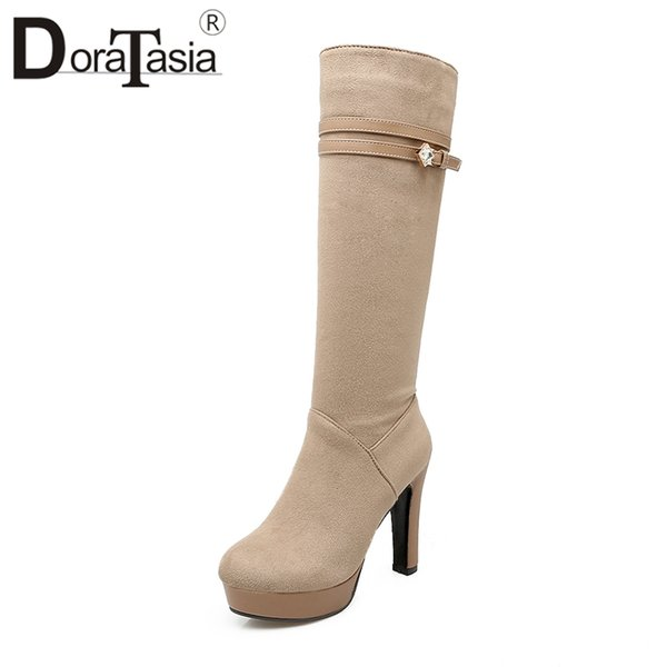 DoraTasia Fashion Plus Size 34-43 Crystal Decoration Platform 11cm Super High Square Heels Solid Zip mid-calf Boots For Women