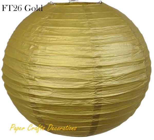 8pcs/lot 35cm (14inch) Gold Chinese/Japanese Round Paper Lanterns Lights lampions Balls Hanging Wedding Celebrations Parties