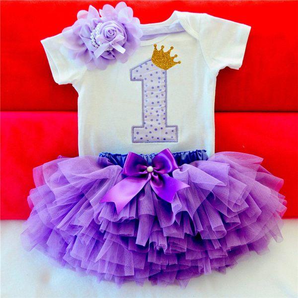 Crianças Vestidos Para Meninas 2018 Tutu Meninas Primeiro Aniversário 1ª Festa Infantil Vestido Do Bebê Menina de 1 Ano Roupas de Batismo Vestido Infantil