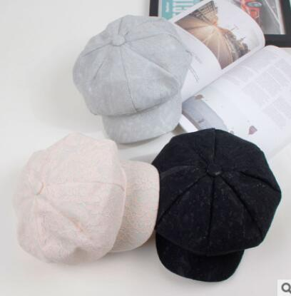 Pizzo cappello ottagonale femminile retrò arte pittore cappuccio moda forma concava breve cappello berretto accessori ragazze carine
