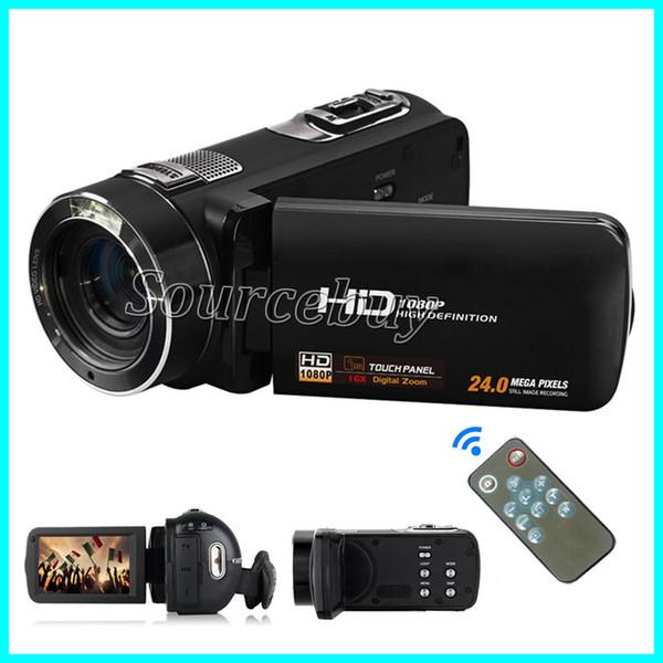 HD 24MP CMOS FHD-DV01 Dijital Kamera 16X Optik Zoom Uzaktan Kumanda ile 3.0 inç LCD Dokunmatik Ekran Video Kaydedici Kameralar Yüz Yakalama