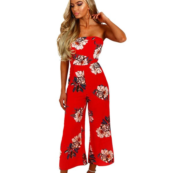 Sexy Strapless Off Shoulder Backless Bohemian Long Red Jumpsuit Women Pants Loose Print Floral Flower Rompers Overalls Bodysuit