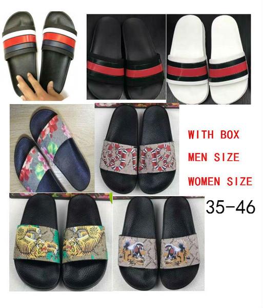 Größe 35-46 2018 Top Qualität Frauen Herren Designer Hausschuhe Sandalen Clip Füße Flip-Stil Tiger print Slide Sandale Floral Flip Flops Sandalen