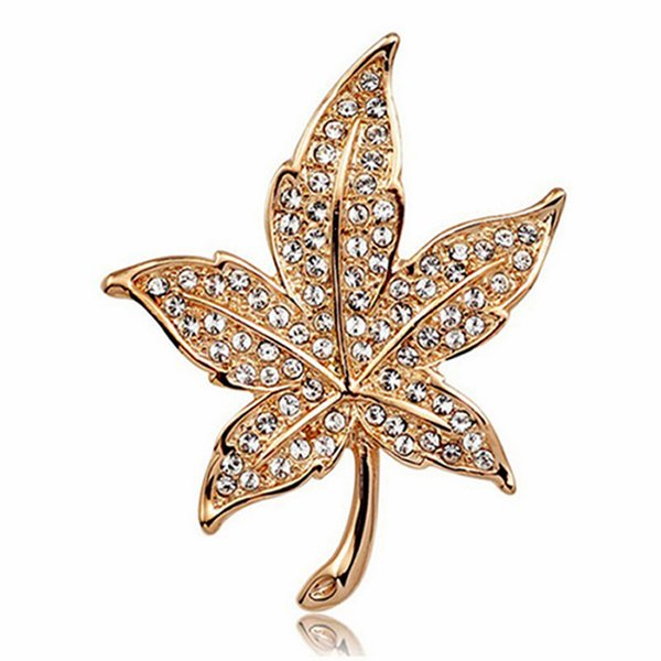 New Brand Design Crystal Diamond Maple Leaf Brooches For Women Lady Luxury Rhinestone Brooch Pin 18K Gold Plated Jewelry Dress Corsage
