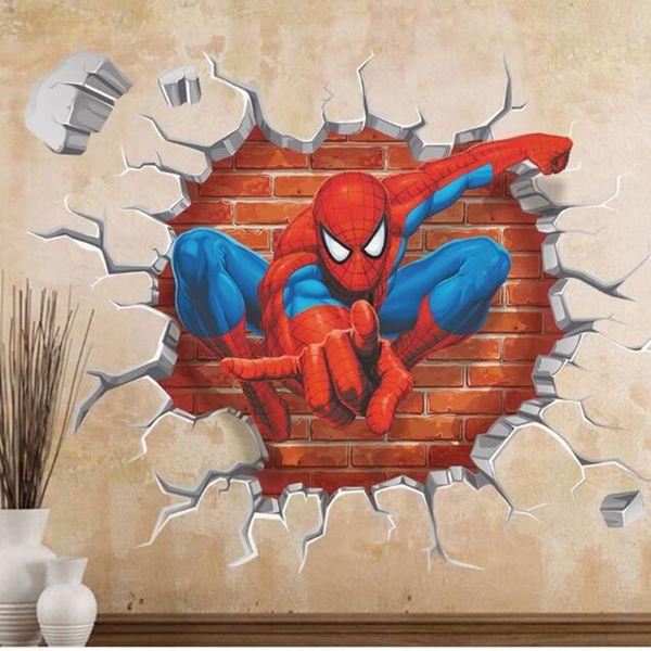 3D Spiderman Cartoon Wall Sticker PVC Self-adhesive Movie Wall Dec for Kids Room Living Room Home Kindergarten Decoration 45*50cm QT006