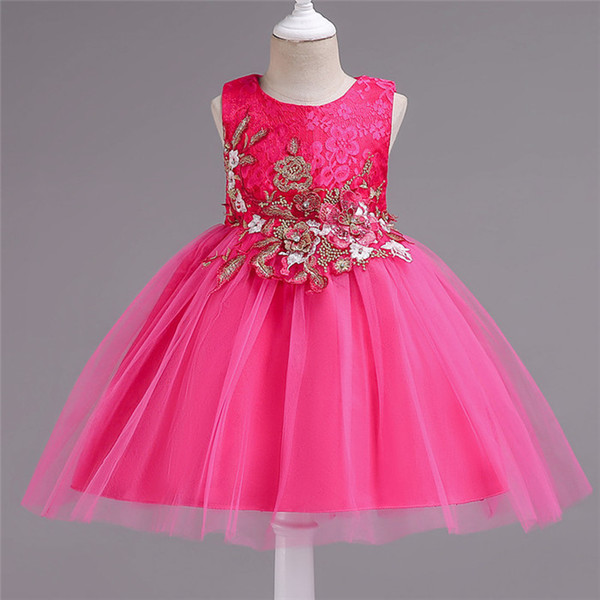 2019 kids clothes Children's dress girls embroidery flower mesh princess dress fluffy costume