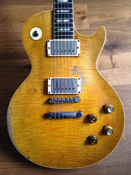 Custom Shop Gary Moore Peter Verde Chama Maple Top Relic Guitarra Elétrica Um PC Pescoço (Não Cachecol Comum), Tributo Envelhecido 1959 Smoked Sunburst