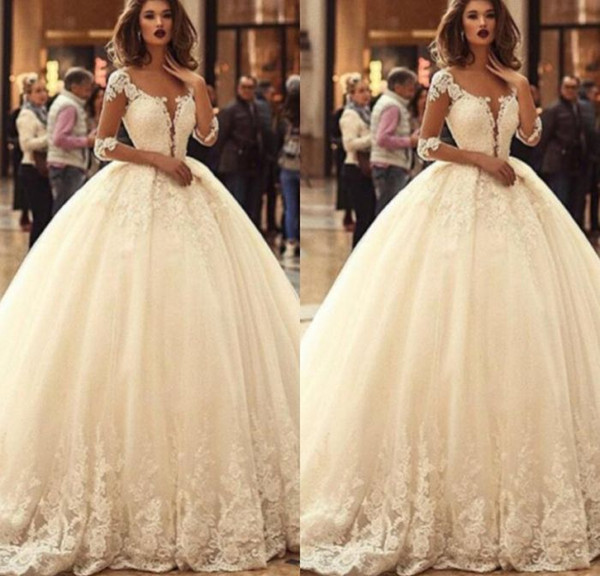 2019 Sheer Long Sleeves Lace Appliques Wedding Dress Princess Beautiful Bridal Gowns Half Sleeves Vestidos De Mariage Custom Made