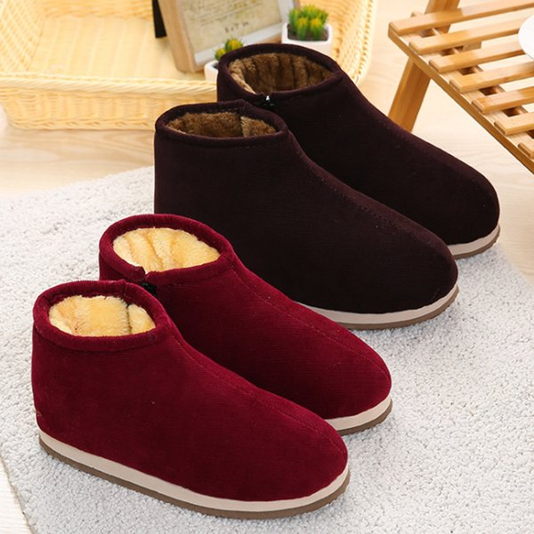 2019 Winter Women Boots Couple Handmade Warm Keeping Booties Plush Thick Cozy Corduroy Velvet Home Shoes Non-Slip Indoor Outdoor 39