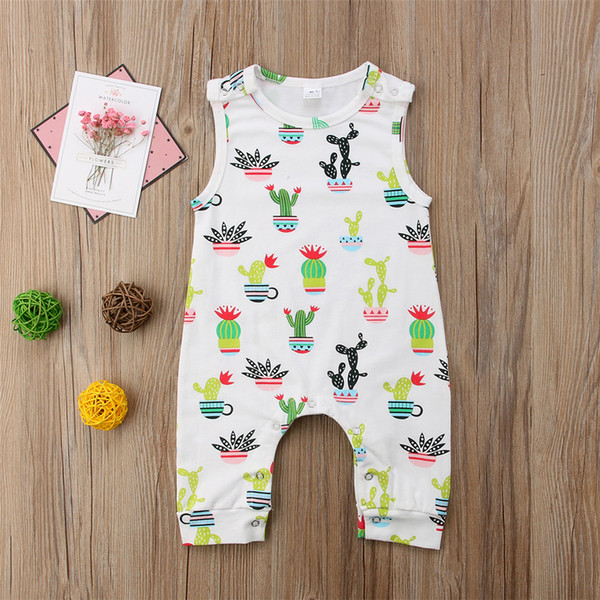 top popular Baby Boys Girls Cartoon Cactus Jumpsuit Sleeveless Cotton Romper Lovely Newborn Baby Onesies Outfit Bodysuit Boutique Kid Clothing set 2020