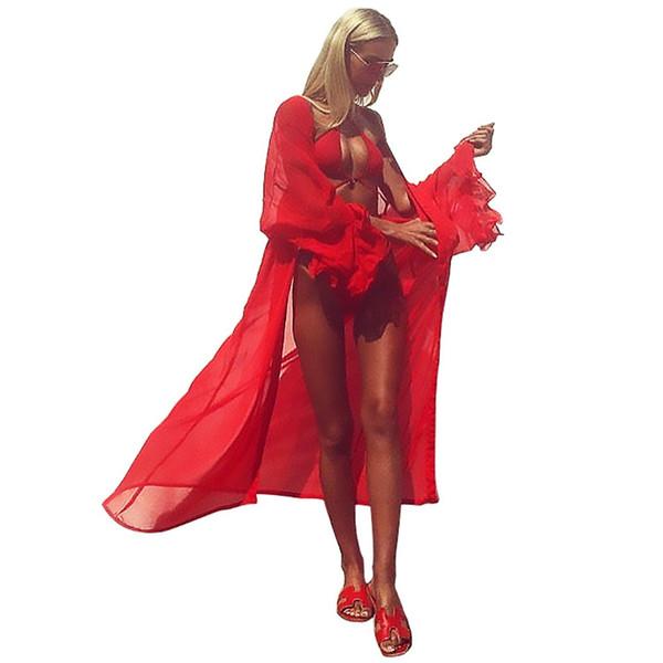YJSFG HOUSE Women Sexy Bikini Cover Up Swimsuit Smock Swimwear Beach Shirt Bathing Suit Gauze Perspective Long Red Sexy