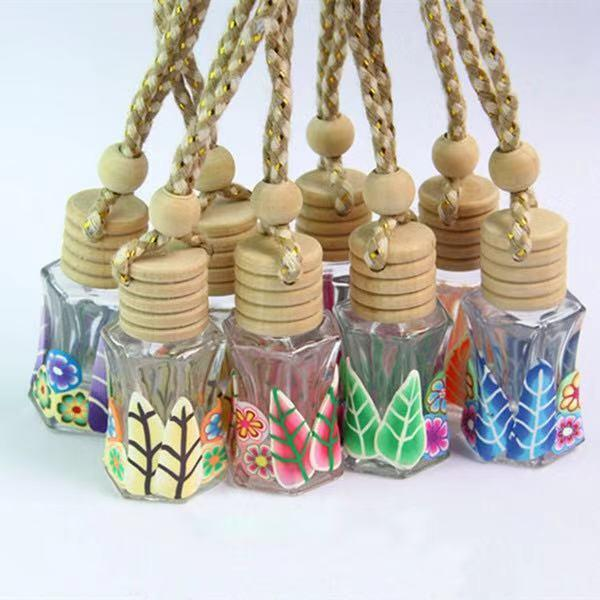 Wholesale 100pcs/lot Glass Perfume Bottle 12ml Polymer Clay Vials for Essential Oil Car Decoration Fragrance Bottle Free DHL