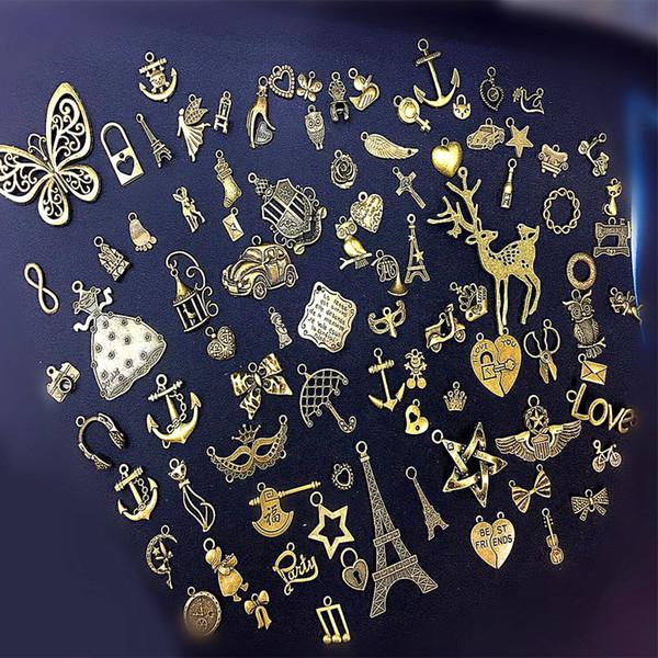 90 Modelle Bastelbedarf Kleine Antike Silber Charms Anhänger Handwerk Schmuckzubehör Machen Zubehör DIY Halskette Armband Freies DHL G995F