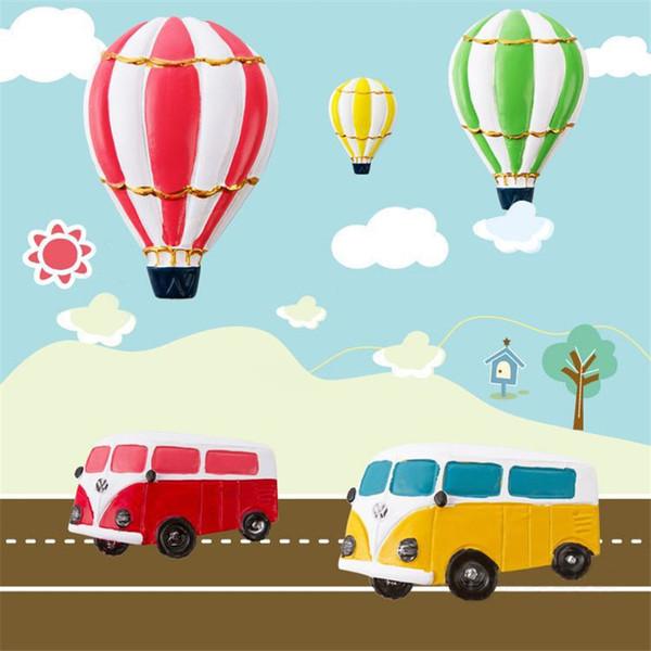 12 PCS Bonito carro balão Ímã de Geladeira Dos Desenhos Animados Resina Ímãs de Geladeira Placa de Mensagem de geladeira Etiqueta de Decoração Para Casa