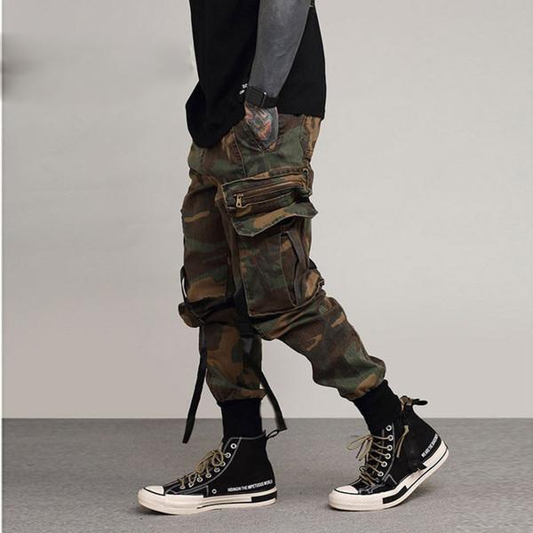 pantalones 2018 Moda para hombre Baggy Tactical Trouser Hip Hop Algodón Casual Multi bolsillos pantalones militares de camuflaje