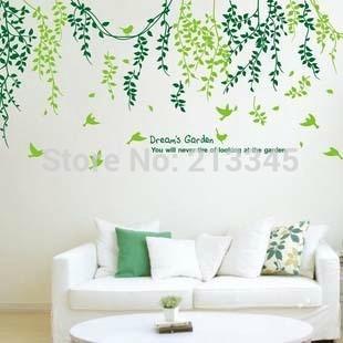 [Fundecor] Dream's Garden Romantic Green Leafy Vine Vinilos decorativos para el hogar Art Mural Vinilos decorativos Pegatinas 6847