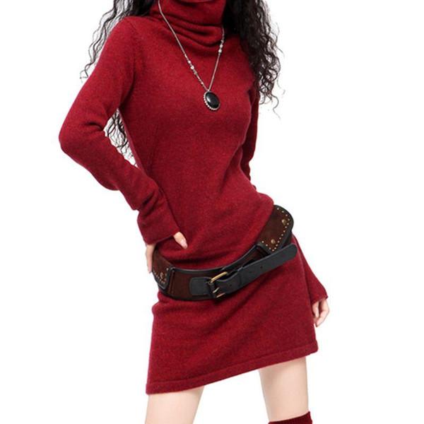 Nouveau hiver Cachemire Laine Mélange Pull Slim Tricot Pull Avec Col Haut Couverture Longue Paragraphe Robe Livraison Gratuite Véritable