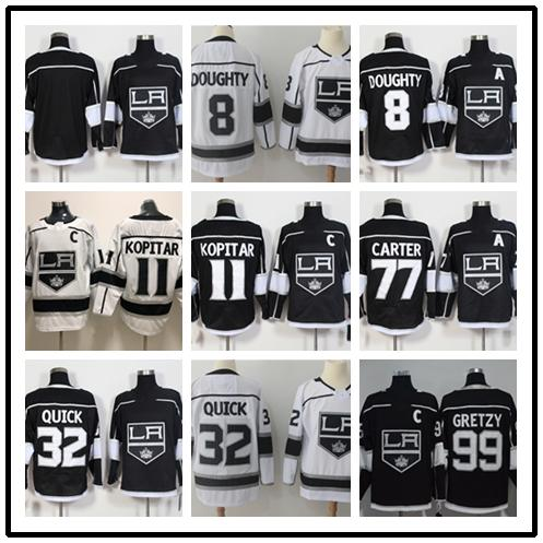 2019 2020 titched adlad kingz blank 8 doughty 11 kopitar 32 quick 77 carter 99 gretzy white black hockey jer ey ice