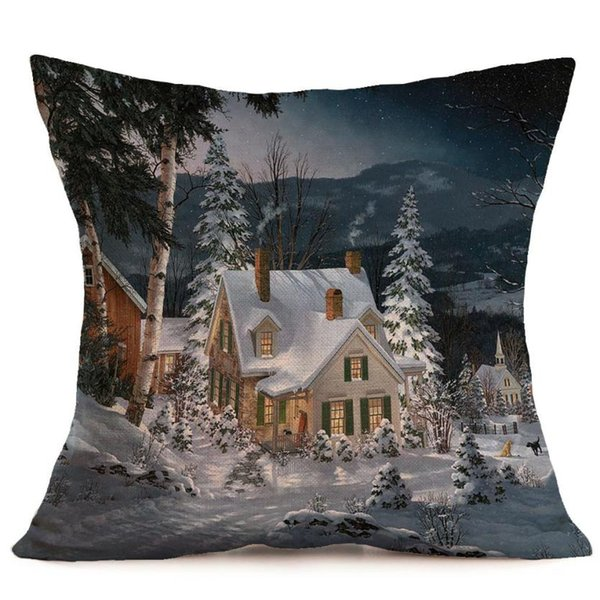 Merry Christmas Linen Pillow Case Printed Pillowcase Decorative Pillows For Sofa Seat Cushion Cover 45x45cm Decorations For Home