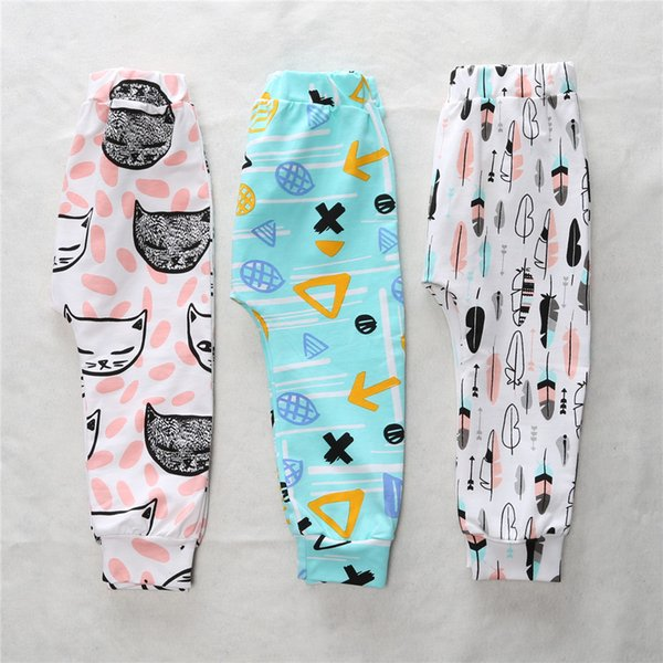 Fall Baby Leggings Pants Infants Cartoon Animals Geometry Feather Trousers Kids Cotton PP Harem Pants For Autumn Clothing Free DHL 413