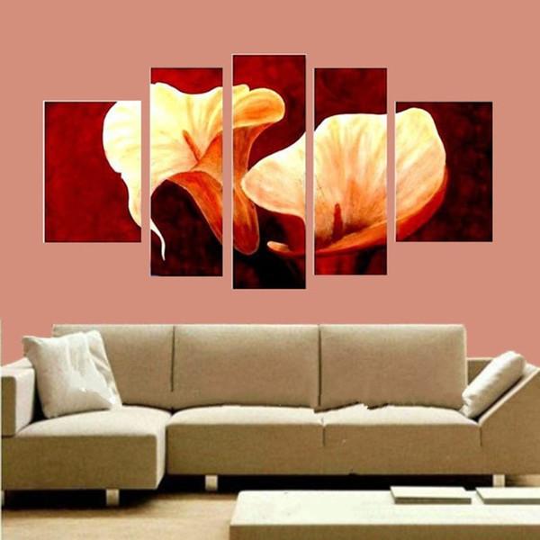 Große 5 Panel Bilder handgemalte abstrakte große Blume Ölgemälde Home Decor Wandkunst handgemachte Blumenbilder auf Leinwand
