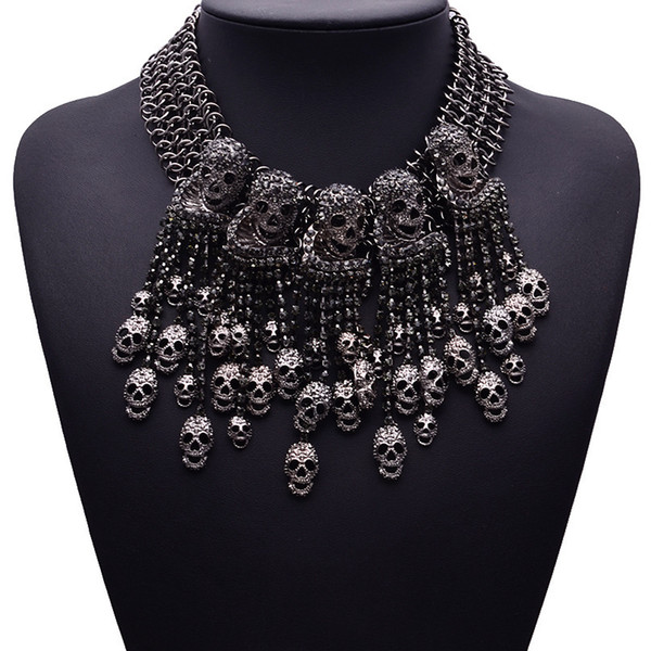 2018 Exaggerated Necklace Skeleton Head Short Chain Female Retro Fashion Accessories Collar Skull Necklace Punk Party Jewelry D18111201