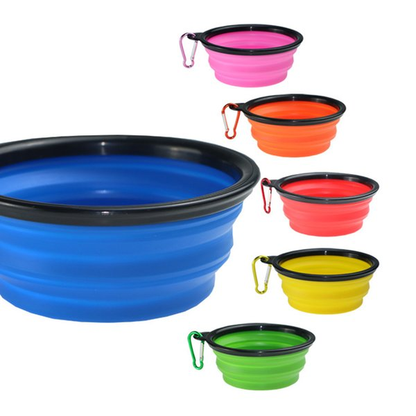 best selling Collapsible dog bowls with carabiner multi color outdoor travel portable dog feeder food container feeder dish
